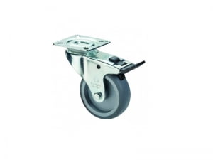 Apparathjul A320.A80.050 50 mm hjul med bremse Plade størrelse 54 ×54 mm Kapacitet 50 kg