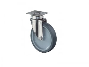 Rustfri apparathjul G100.A80.051 Rustfri drejegaffel med Ø 50 mm TPE hjul Pladestoerrelse 60 x 60 mm