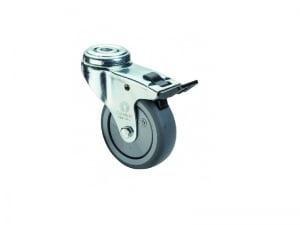 Apparathjul A321.A85.050 50 mm. hjul Bolthulsgaffel med bremse Kapacitet 50 kg Totalhoejde 73 mm